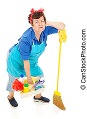 dame, -, épuisé, nettoyage