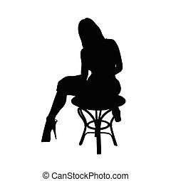 dame a peau noire , vecteur, silhouette, figure