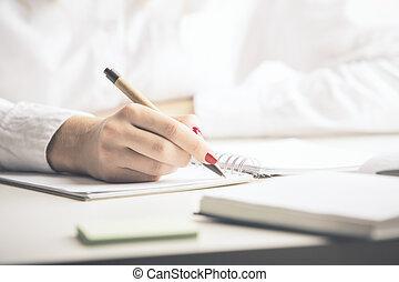 dame, bloc-notes, écriture