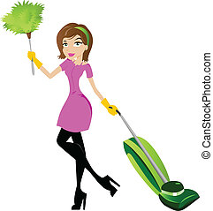 dame, caractère, nettoyage