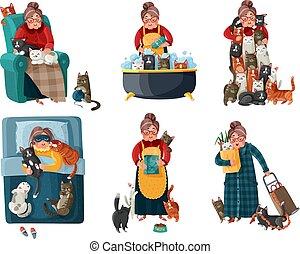 dame, chats, ensemble, solitaire