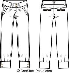 dame, jeans treillis, détails