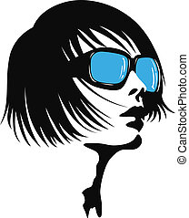 dame, lunettes soleil, jeune