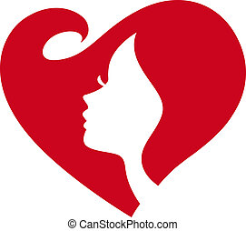 dame, silhouette, femme, coeur rouge