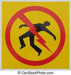 danger, électrocution, signe