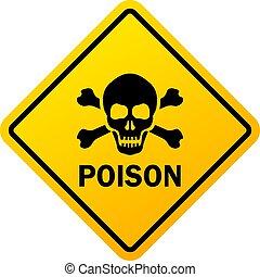 danger, avertissement, poison, signe