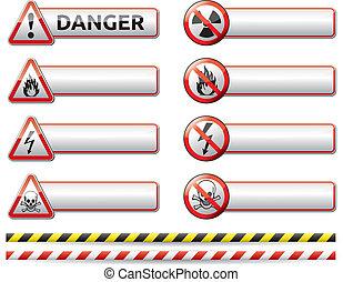 danger, bannière, signe