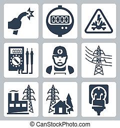 danger, bouchon, puissance, icônes, fourniture, fil, industrie, mètre, électricien, signe, bared, vecteur, multimètre, fourniture, ligne, réceptacle, set:, plante