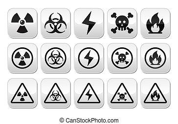danger, boutons, risque, avertissement, ensemble