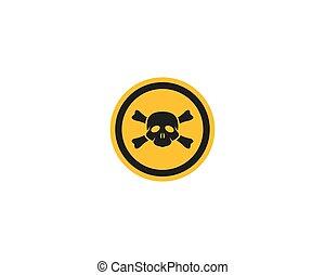 danger, crâne, icône