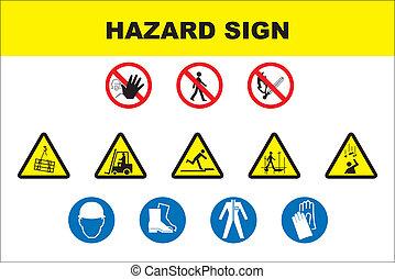 danger, icône, ensemble, sécurité