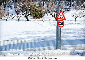 danger, neige, panneaux signalisations