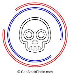 danger, os croisés, crâne, vecteur, icône