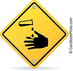 danger, produits chimiques, corrosif, panneau avertissement