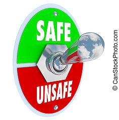 danger, sûr, dangereux, commutateur, cabillot, vs, sécurité, choisir, ou