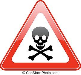 danger, triangle, crâne, signe