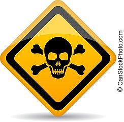 danger, vecteur, crâne, signe