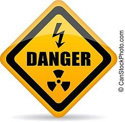 danger, vecteur, panneau avertissement