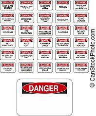 danger, vecteur, rouges, signes