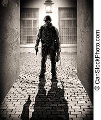 dangereux, hommes, silhouette, militaire