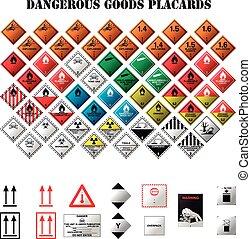 dangereux, plaquettes, marchandises