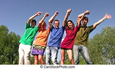 danse, amis, haut, mains