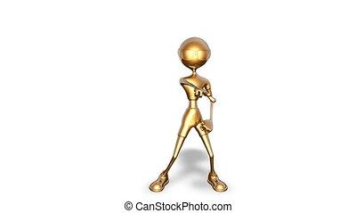 danse, blanc, 3d, or, homme, fait boucle, -