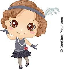 danse, charleston, girl, illustration, gosse