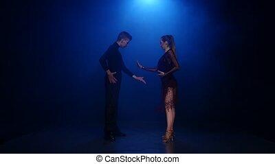 danse, couple, danseurs, élégant, studio, jive, professionnel, enfumé