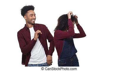 danse, couple, isolé, screen., américain, studio, africaine, blanc