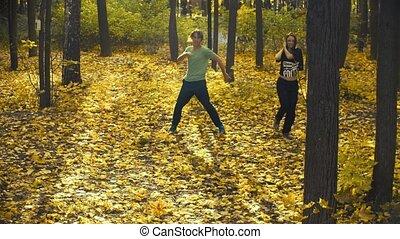 danse, couple, parc, jeune, automne, heureux