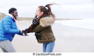 danse, couple, plage, hiver, jeune