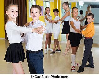 danse, danse, enfants, classe, paire