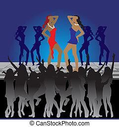 danse, danseuses, boîte nuit, plancher