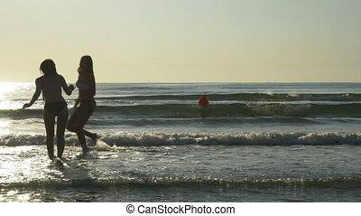 danse, deux, petites amies, eau, mer, jouer