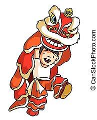 danse, dragon chinois