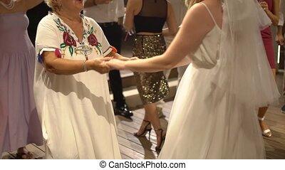 danse, elle, maman, mariée, fête, mariage