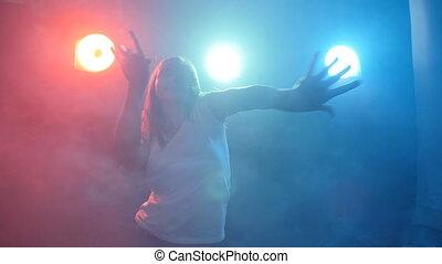 danse femme, couleur, lumière, jeune, disco