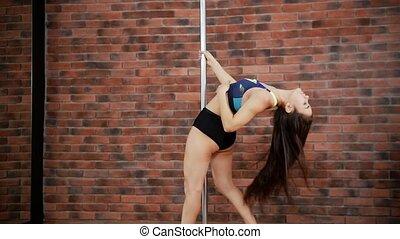 danse femme, danse, voler, jeune, cheveux, poteau, studio.
