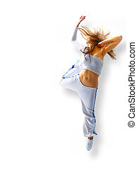 danse femme, voler, jeune, cheveux, séduisant