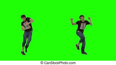 danse, fou, vert, écran