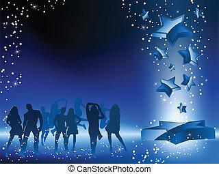 danse, foule, bleu, fête, flyer., étoile
