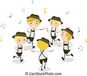 danse, garçons, gosses, stickman, schuhplattler