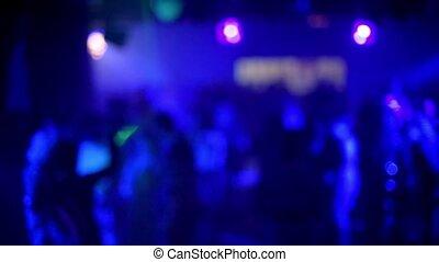 danse, gens, plancher, danse, silhouettes, brouillé, boîte nuit