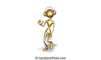 danse, homme, or, fait boucle, -, blanc, 3d
