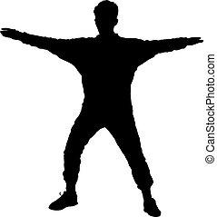 danse, illustration, arrière-plan., silhouettes, vecteur, noir, blanc