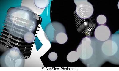 danse, incandescent, gens, silhouettes, lumières, contre, taches, microphones
