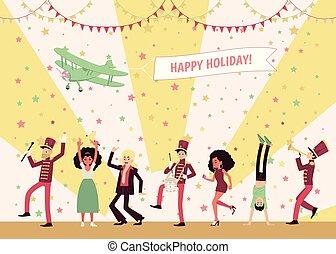 danse, instruments, gens, hommes, celebrating., bande, musiciens, marcher, jouer, femmes