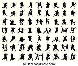 danse, joueurs, silhouettes