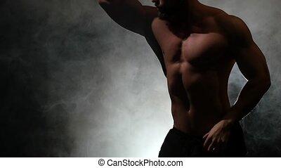 danse lente, haut, mouvement, arrière-plan., danses, fumée noire, pompé, sexy, type